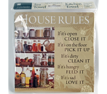 Tea Towel - House Rules in Alliston, New Tecumseth ON, Bern's Flowers & Gifts