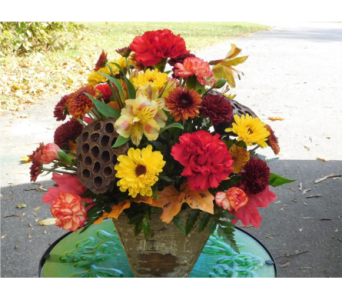 Rustic Fall Centerpiece in Skowhegan ME, Boynton's Greenhouses, Inc.