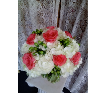 Coral Roses, White Hydrangea in Freehold NJ, Especially For You Florist & Gift Shop