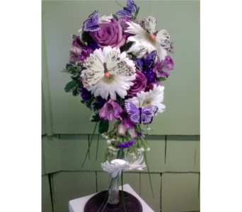 White Gerbera Daisies, Lavender Roses w/Butterfly in Freehold NJ, Especially For You Florist & Gift Shop