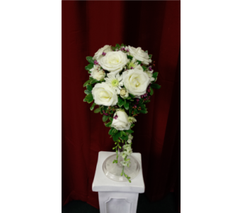 White Rose Teardrop Bouquet in Freehold NJ, Especially For You Florist & Gift Shop