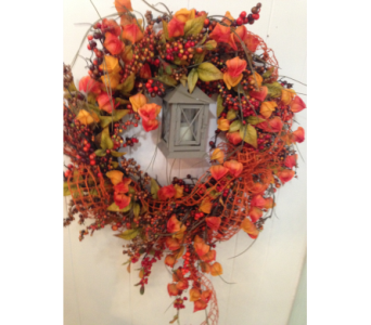 Wreath with lantern in Crafton PA, Sisters Floral Designs