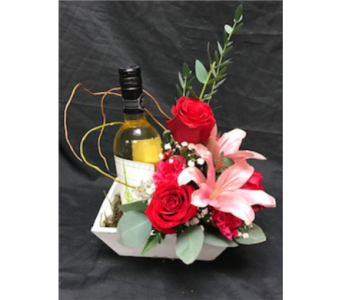 wine with roses & lilies in Airdrie AB, Summerhill Florist Ltd