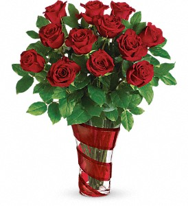 Teleflora's Dancing In Roses Bouquet in The Woodlands TX, Rainforest Flowers