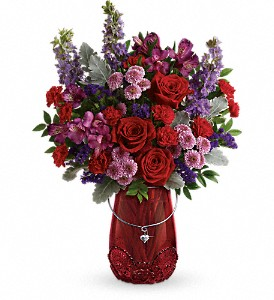 Teleflora's Delicate Heart Bouquet in Houston TX, Classy Design Florist