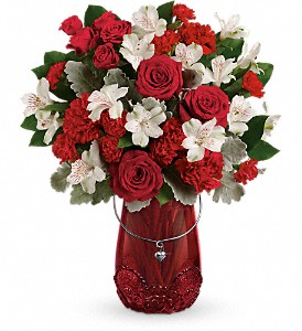 Teleflora's Red Haute Bouquet in Mount Morris MI, June's Floral Company & Fruit Bouquets
