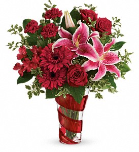 Teleflora's Swirling Desire Bouquet in Mount Morris MI, June's Floral Company & Fruit Bouquets