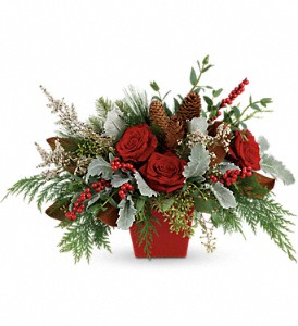 Winter Blooms Centerpiece in Modesto, Riverbank & Salida CA, Rose Garden Florist