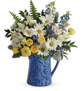 Teleflora's Bright Skies Bouquet in Austintown OH, Crystal Vase Florist