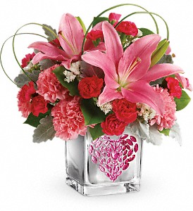Teleflora's Jeweled Heart Bouquet in Plantation FL, Pink Pussycat Flower Shop