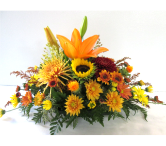 Lily and Sunflower Centerpiece in Worcester MA, Holmes Shusas Florists, Inc