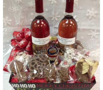 Holiday Wine & Chocolates Basket in Richmond MI, Richmond Flower Shop