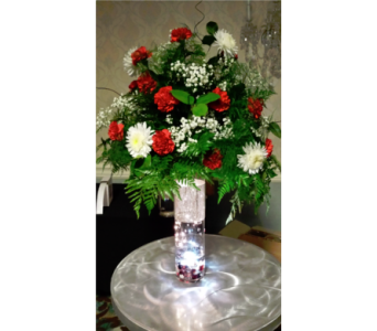 Red and White Riser Centerpiece in Freehold NJ, Especially For You Florist & Gift Shop