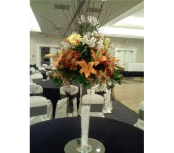Fall lily riser centerpiece with branches in Freehold NJ, Especially For You Florist & Gift Shop