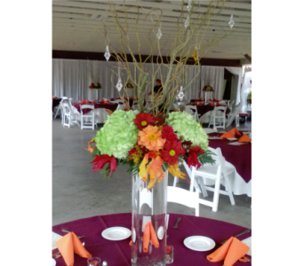 Fall riser w/green hydrangea, fall mums & branches in Freehold NJ, Especially For You Florist & Gift Shop