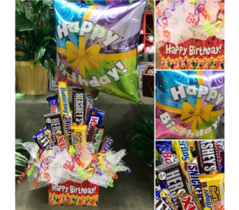 Chocolates Candies Box 2 Happy Birthday Balloon in Palm Desert CA, Milan's Flowers & Gifts