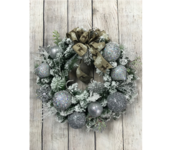 Silver Greetings Wreath in Virginia Beach VA, Fairfield Flowers