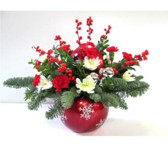 Red Ornament Centerpiece in Worcester MA, Holmes Shusas Florists, Inc