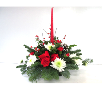 Seasons Greetings Centerpiece with candle in Worcester MA, Holmes Shusas Florists, Inc