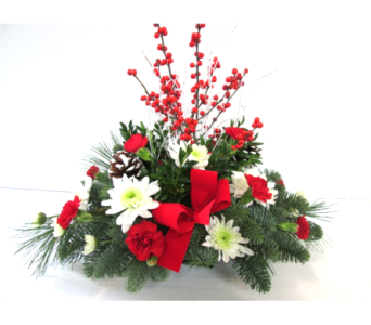 Seasons Greetings centerpiece without candle in Worcester MA, Holmes Shusas Florists, Inc