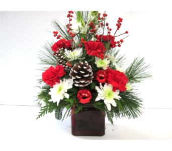 Red Cube Arrangement in Worcester MA, Holmes Shusas Florists, Inc