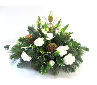 Gold Angel Centerpiece in Worcester MA, Holmes Shusas Florists, Inc