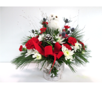 Snow Owl Centerpiece in Worcester MA, Holmes Shusas Florists, Inc