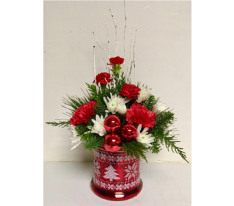Christmas Stitch Glass Centerpiece - All Around in Wyoming MI, Wyoming Stuyvesant Floral