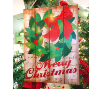 Merry Christmas Wooden Slat Sign in Eugene OR, Dandelions Flowers