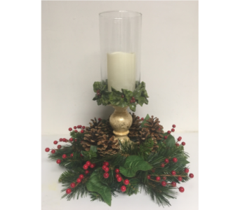 Candle Holder with Christmas Wreath in Wyoming MI, Wyoming Stuyvesant Floral