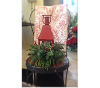 Christmas Lantern with Pine Arrangement in Ellwood City PA, Posies By Patti