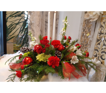 RED/GREENK/WHITE CENTERPIECE in The Villages FL, The Villages Florist Inc.
