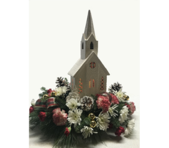 Lighted Ceramic Church in Huntington WV, Archer's Flowers and Gallery
