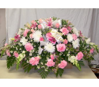 Pink and White Tribute in Bayside NY, Bell Bay Florist