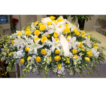 White Tribute With Yellow Roses in Bayside NY, Bell Bay Florist