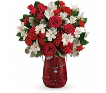Red Haute Vase in Big Rapids, Cadillac, Reed City and Canadian Lakes MI, Patterson's Flowers, Inc.