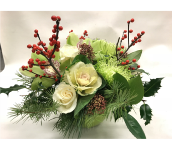 Chartreuse & Red Treasures in Victoria BC, Fine Floral Designs