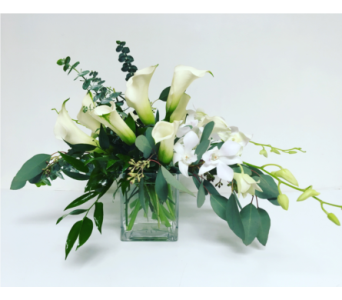 Calla Lilies and Orchids in 4x4 Cube in Wyoming MI, Wyoming Stuyvesant Floral
