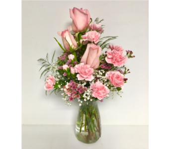 Pretty Pink Vibe Vase - Designed One-Sided in Wyoming MI, Wyoming Stuyvesant Floral
