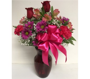 Ruby Red Rose Vase Arrangement-8 inch-All-Around in Wyoming MI, Wyoming Stuyvesant Floral