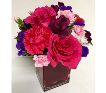 Jewel Tone Cube Arrangement-4x4 Cube-All-Around in Wyoming MI, Wyoming Stuyvesant Floral