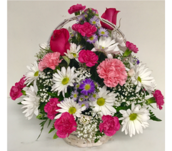 Pop of Pink Basket Arrangement - 8 inch basket in Wyoming MI, Wyoming Stuyvesant Floral
