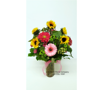 Huddart Gerbera And Sunflower Vase Arrangement in Salt Lake City UT, Huddart Floral