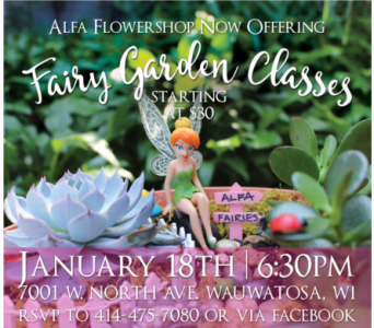 fairy garden class in Milwaukee WI, Alfa Flower Shop