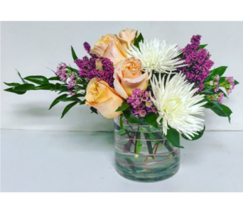 Shimmer Roses with Fugi in 5x5 Cylinder Vase in Wyoming MI, Wyoming Stuyvesant Floral