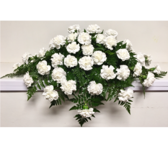 All White Carnation Casket Spray in Wyoming MI, Wyoming Stuyvesant Floral