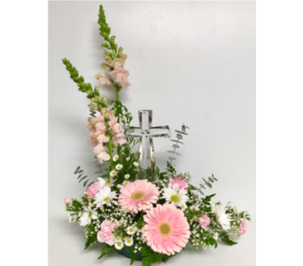 Crystal Cross in Pink Fresh Cuts in Wyoming MI, Wyoming Stuyvesant Floral