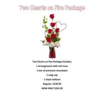 Two Hearts on Fire Valentine's Day Package in Virginia Beach VA, Fairfield Flowers