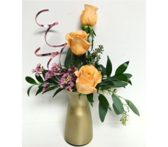 Shimmer Roses in Champagne Vibe Vase in Wyoming MI, Wyoming Stuyvesant Floral