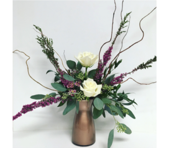 3 Escimo Roses in Rose Gold Vibe Vase - All Around in Wyoming MI, Wyoming Stuyvesant Floral